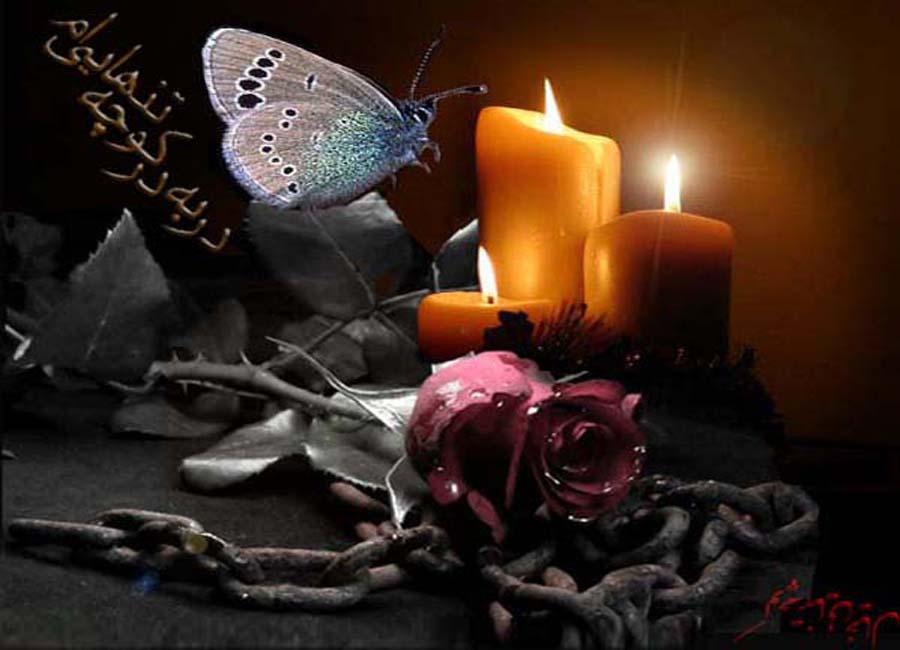 عکس شمع با گل